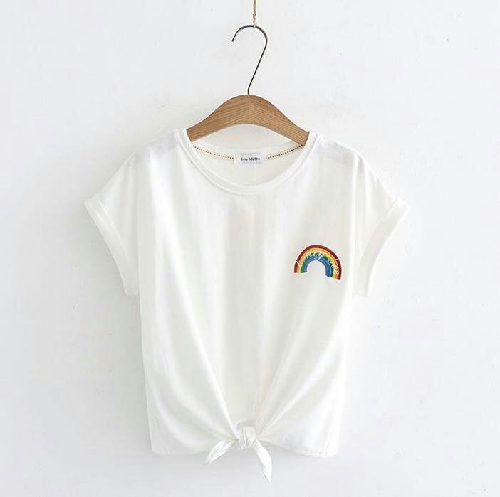 J&C Kaos Rainbow Tee / Baju Pendek Wanita / Kaos Pendek / Atasan Model Crop Tee / T-Shirt Wanita / Crop Tee