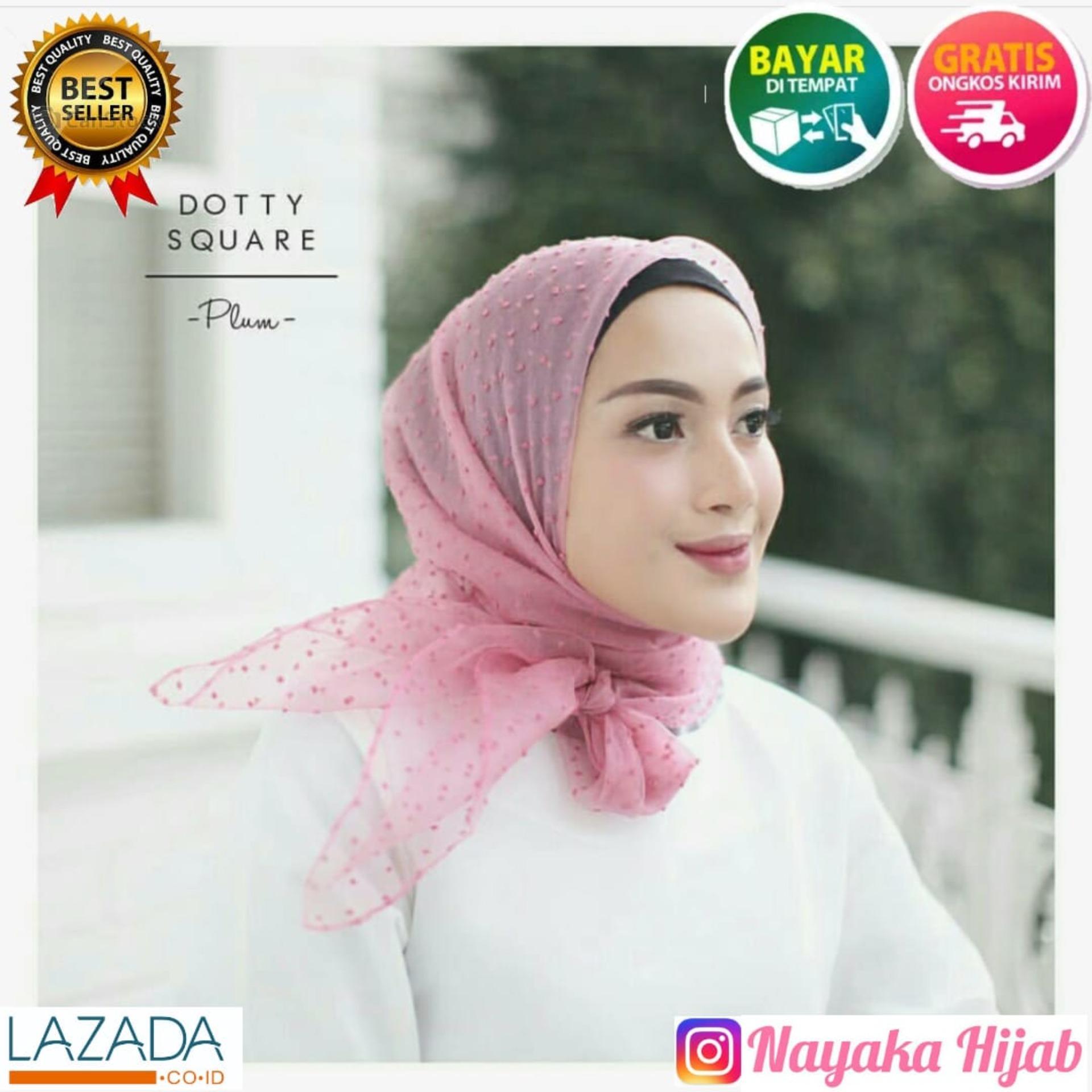 PROMO Jilbab Organza dot | Hijab Organza dot | HijabOrganza Square Best Seller dot | Jilbab Segi empat organza Dot