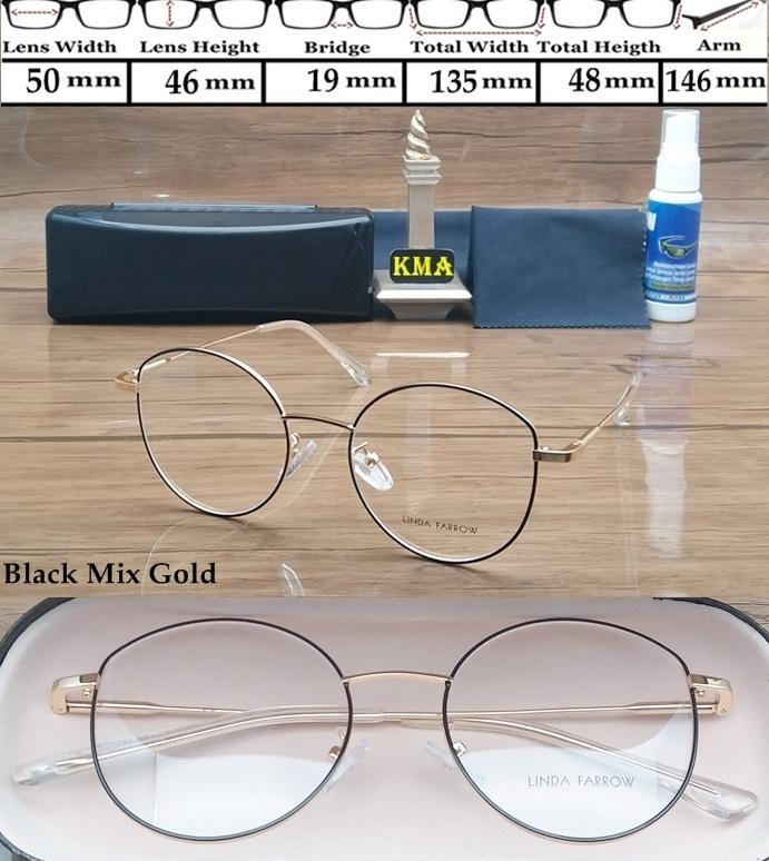 Frame kacamata minus LINDA FARROW metal kacamara minus vintage round