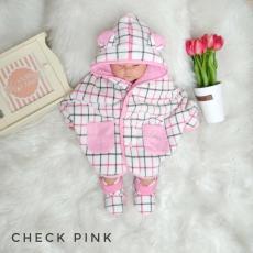Jaket Bayi / Mantel Bayi / Selimut / Baby Cape Cuddle Me Motif Check Pink
