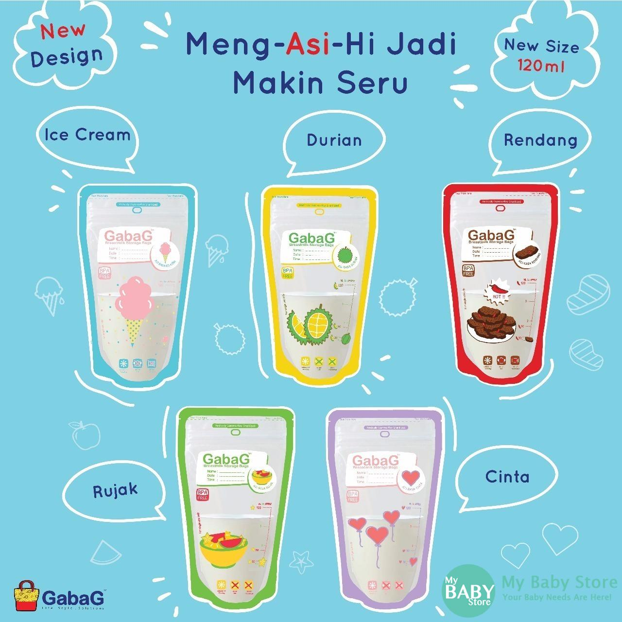 GabaG Breast Milk Storage - Kantong ASI 120 ml Isi 30 Pcs ( Mix )