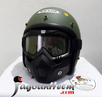ZEUS Helm RETRO ZS385   Green DOFF + GOGGLE Mask + ANTI FOG   ZS 385    helm kyt / helm bogo / helm full face / helm ink / helm sepeda /helm motor/helm nhk/helm retro/helm anak/helm gm