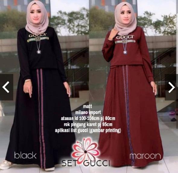 Set Milano stelan rok hijab gucci