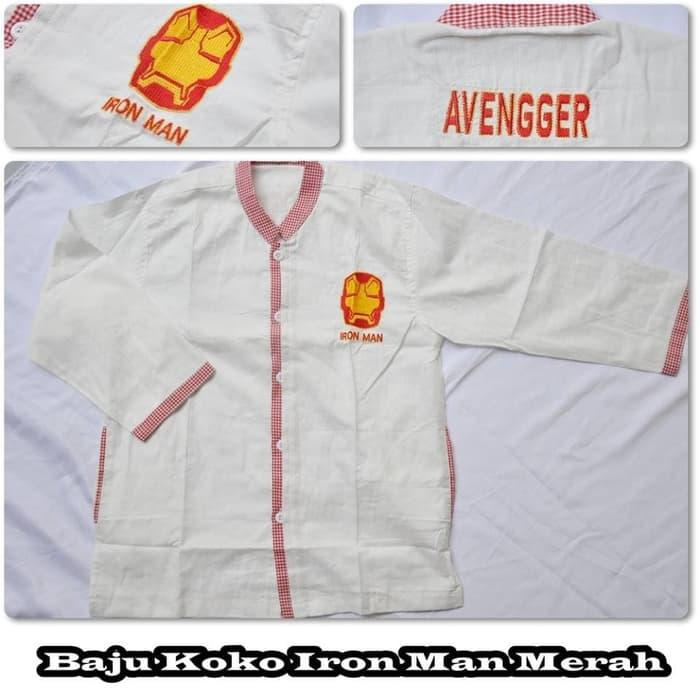 (Busana Muslim Muslimah) Baju Koko Iron Man Merah (Size XL)