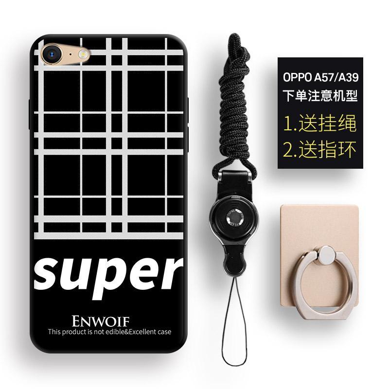 A39 Selubung Ponsel Oppoa57 Sederhana Selubung Lunak Silikon Hitam atau Putih Geometris