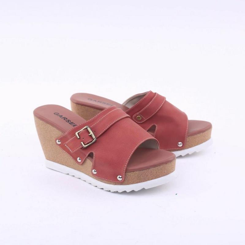 Garsel Shoes Sandal Wedges Wanita Merah Bata - GKK 4298