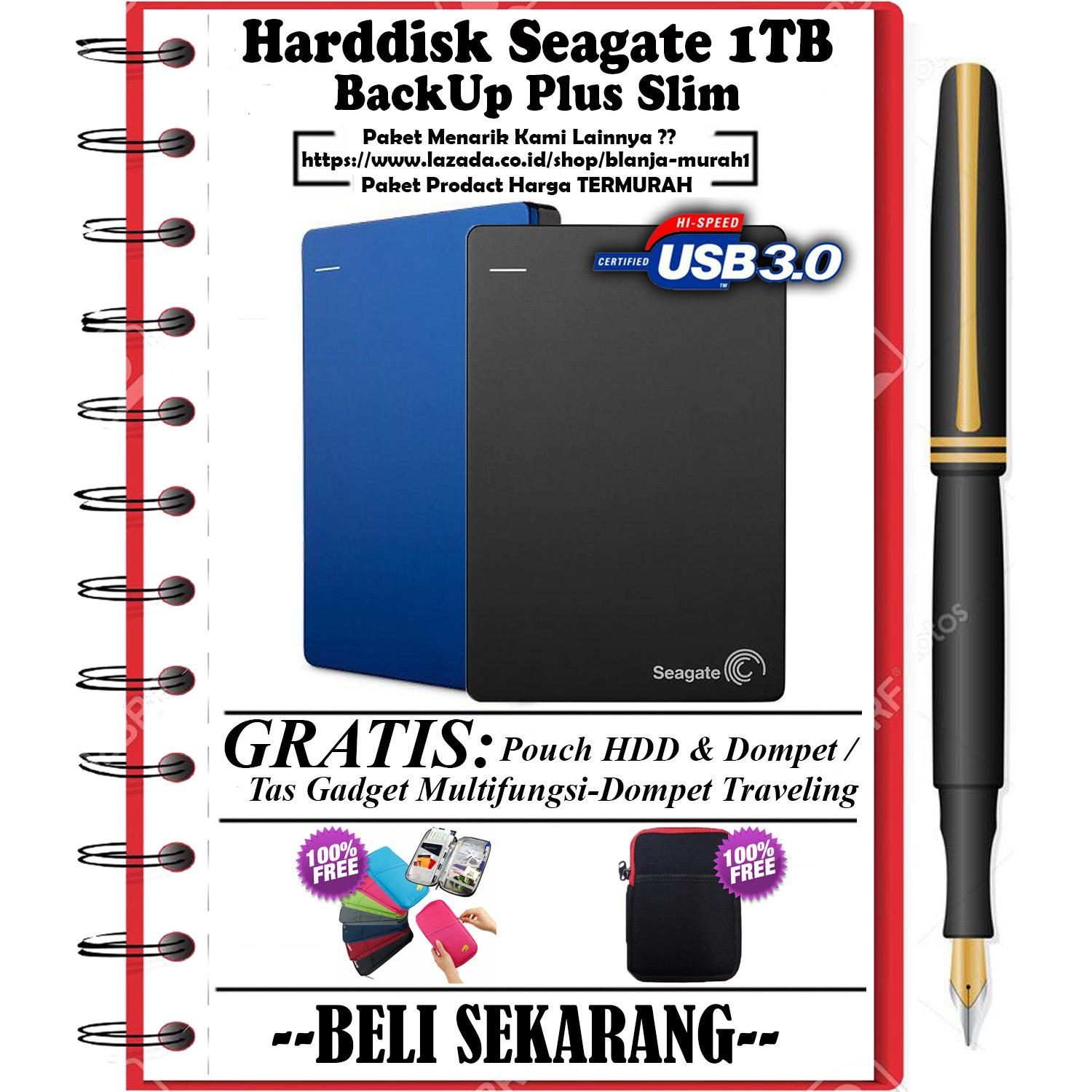 Seagate Backup Plus Slim 1TB - HDD - HD - Hardisk External 2.5 - GRATIS Pouch Harddisknya dan Gadget Pouch Multi-functional Storage Orgranizier / Dompet Gadget Multifungsi Traveling