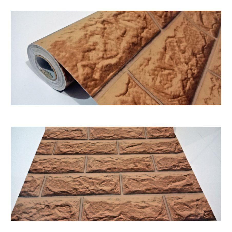 Wallpaper dinding murah ruang tamu rumah kamar tidur bata 3D coklat terbagus termurah terlaris elegan minimalis cantik indah