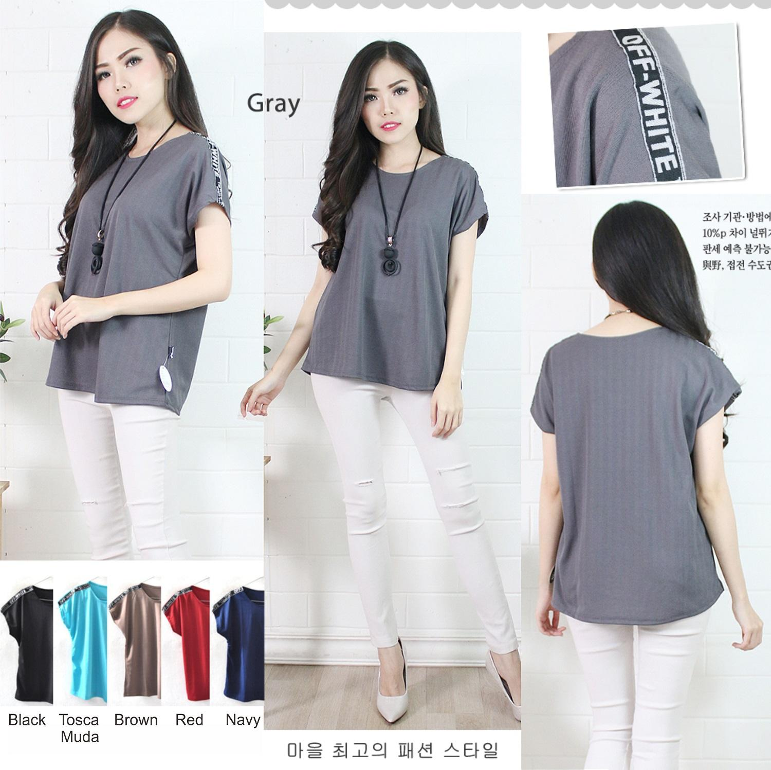Baju Atasan Blouse Wanita Murah Short Sleeve with List A0279
