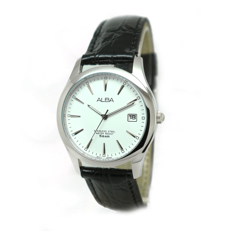 Alba - Jam Tangan Wanita - Silver-Putih - Strap Hitam - AXHL65X1