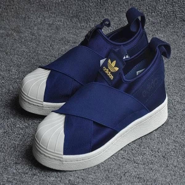 Sepatu Cowok Keren Kece Adidas ORIGINAL Superstar Slip On Navy Men