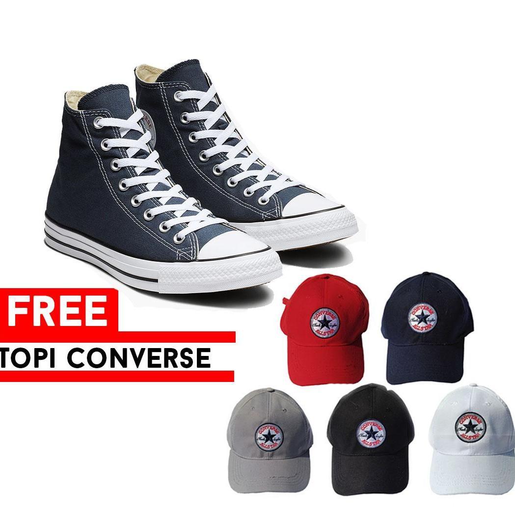 ... Pochinki Sepatu Sneakers Casual Converse All Star High Top Pria Wanita  Free Topi AllStar Converse c0db988886
