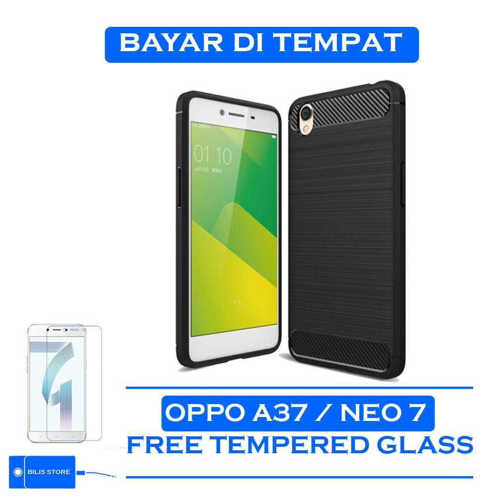 Case Ipaky Silikon Carbon Case Oppo A37 / Oppo Neo 9 Case Cover Casing Shockproof Black Color Brush Carbon Texture Casing Hp Oppo A37 / Oppo Neo 9 Cover Oppo A37 / Oppo Neo 9 Casing ++ Free Tempered glass kaca