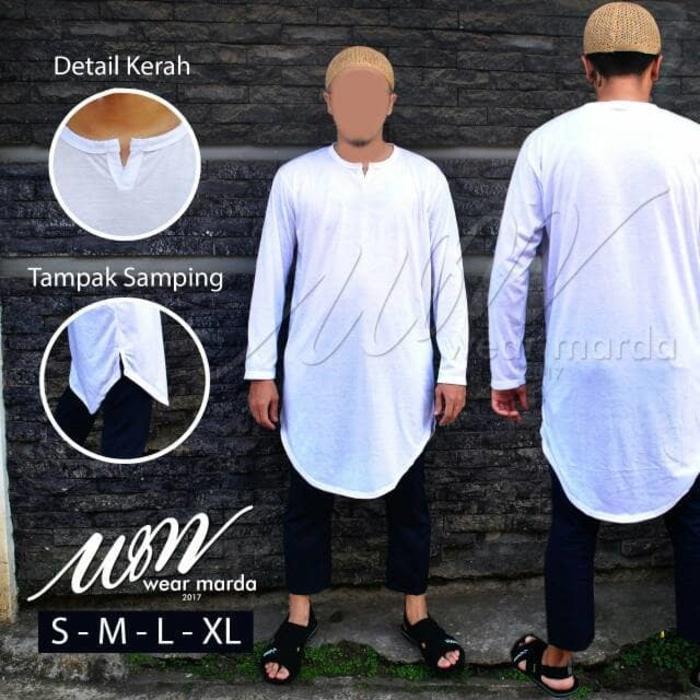 Baju Muslim Pria Model Gamis Pakistan Putih Bahan Kaos