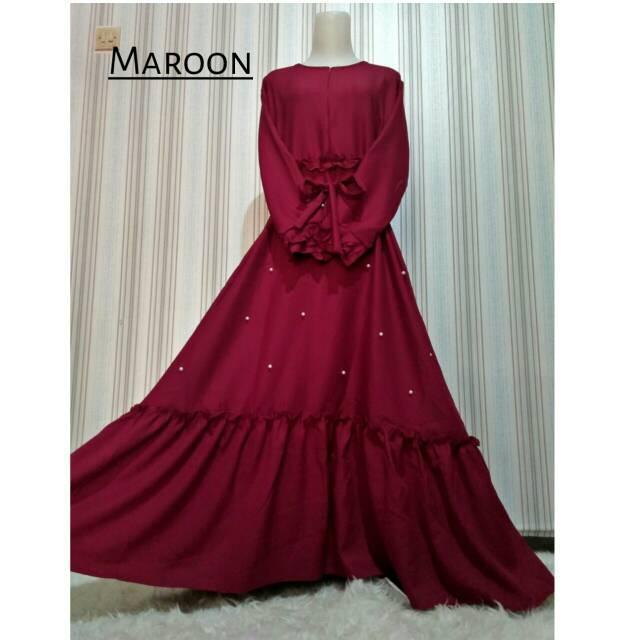 Gamis zee zee rempel mutiara tengah wolycrepe busui dress syari gaun mosscrepe maxidress muslim