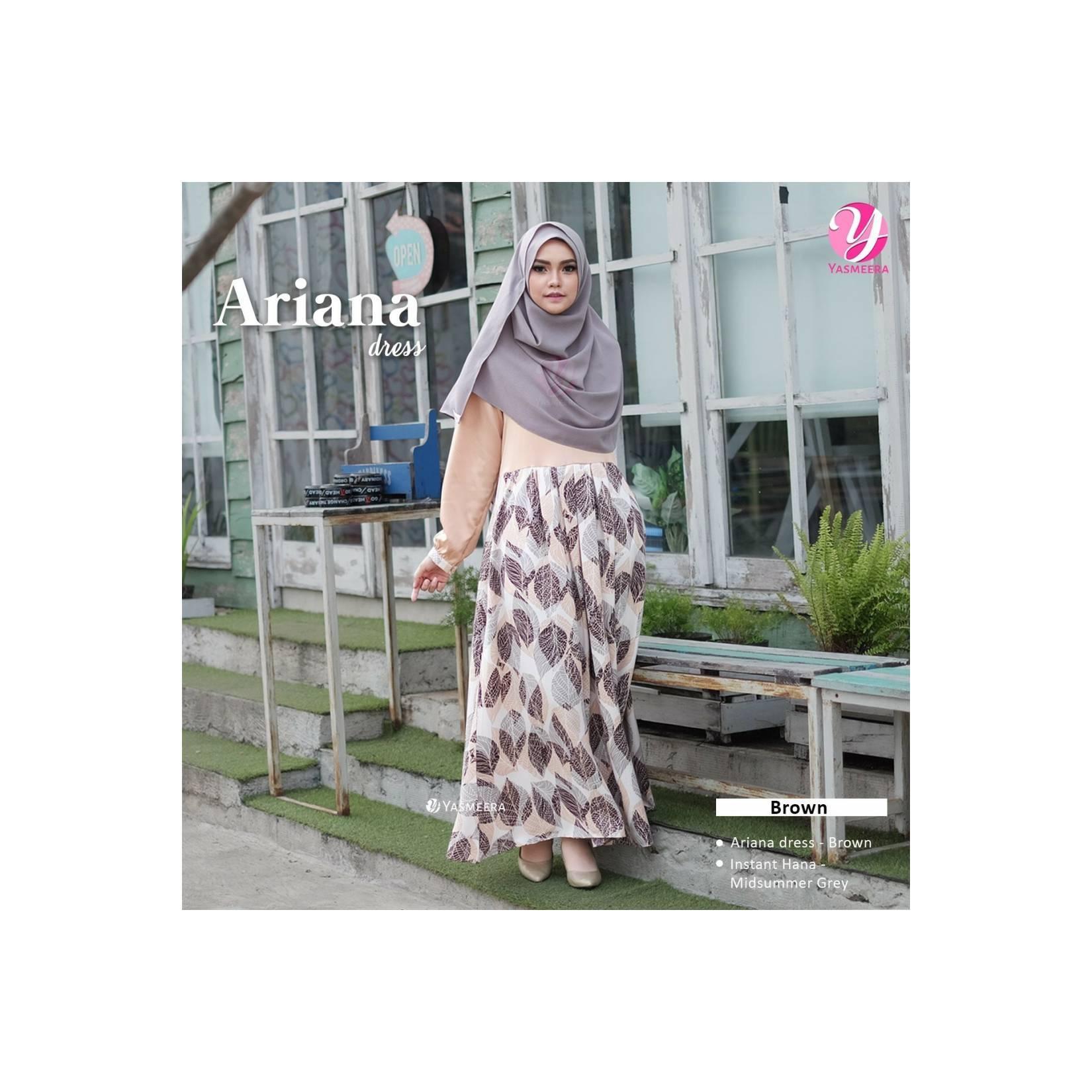 Gamis SET Ariana Dress BROWN by Yasmeera bahan Maxmara royal satin