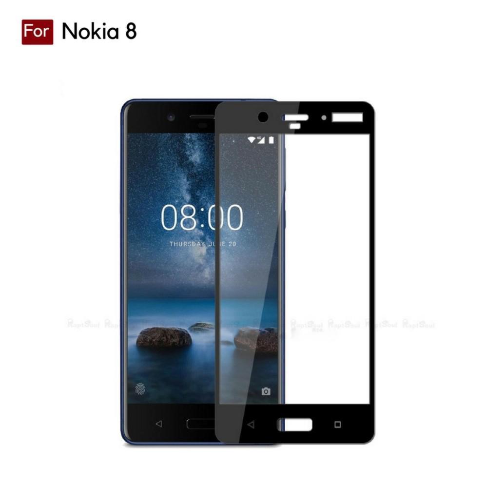 Kenzoe Tempered Glass Warna Full Corning Screen Protector For Nokia 8 - Black