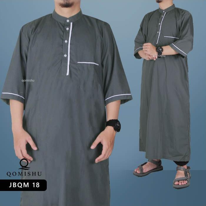 Gamis Muslim Pria Gamis Lengan Pendek Jubah Pria Baju Muslim Pria Gamis Pria JBQM 18