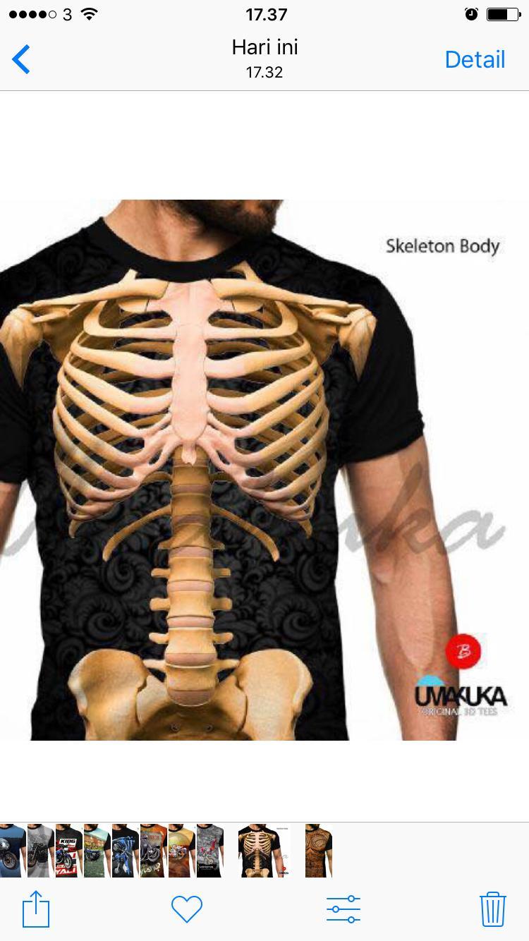 Skeleton body kaos unik 3d fullprint