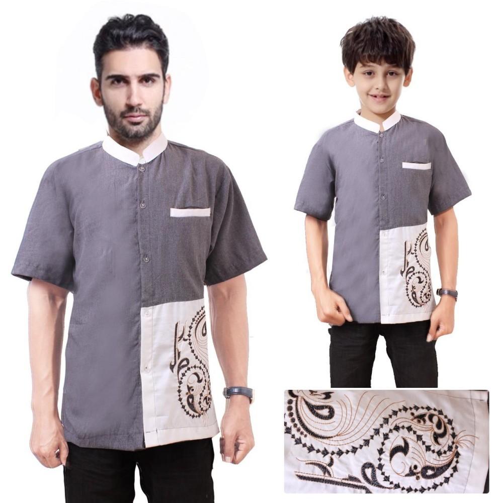 Shining Collection Baju Koko Ibram Kemeja Muslim Lengan Pendek ayah dan anak