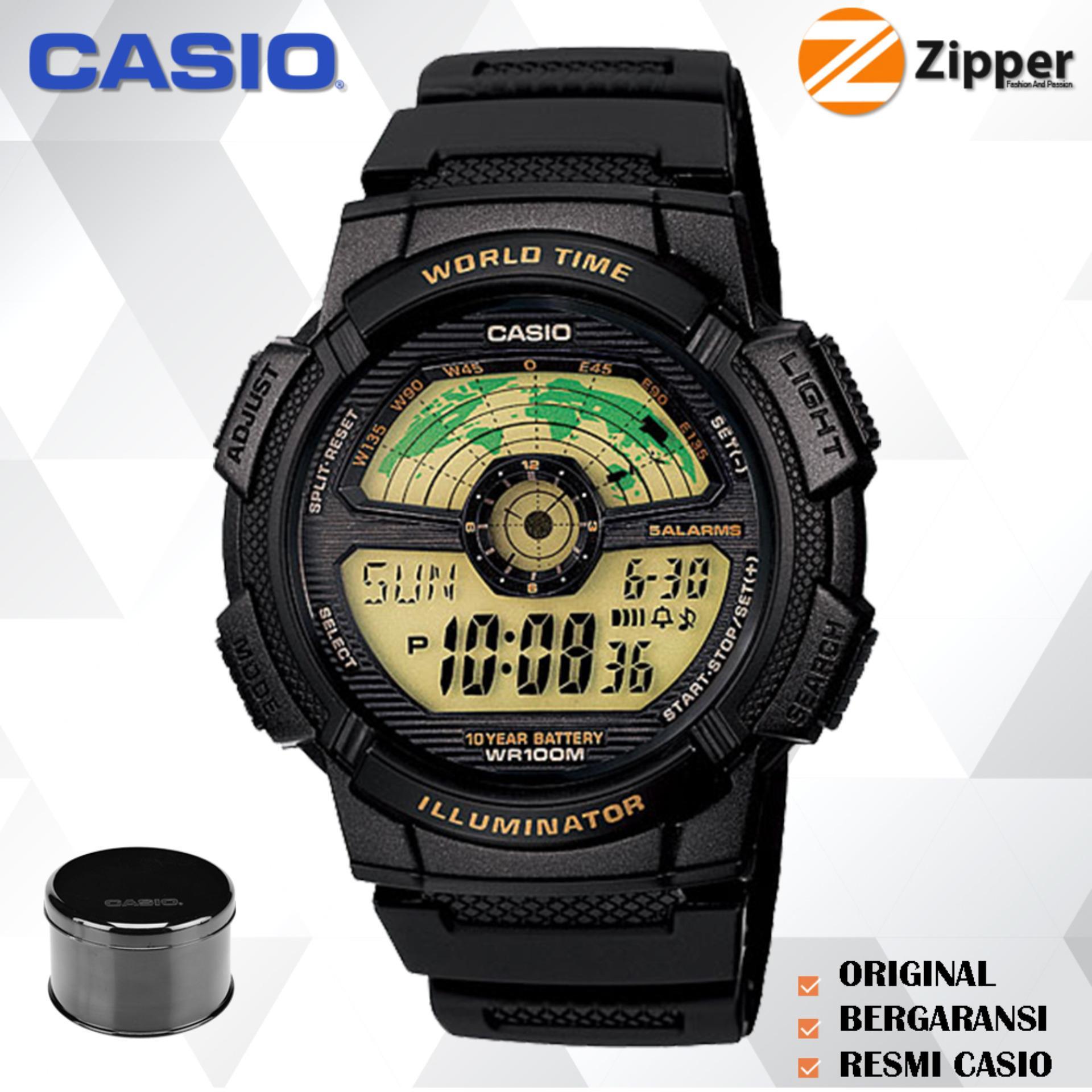 Casio Illuminator Jam Tangan Digital AE-1100W-1BVDF Youth Series - Tali Karet