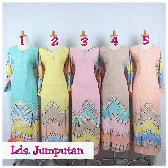 longdress jumputan / longdrerss batik pekalongan / baju menyusui /Gamis murah bahan rayon