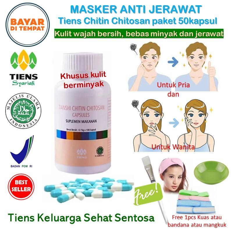 Tiens Masker Chitosan Herbal Anti Jerawat 20 Kapsul Free Kuas Kuas. Source · Obat Jerawat
