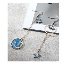 LRC Anting Gantung Fashion Blue Star Shape Pendant Decorated Earrings