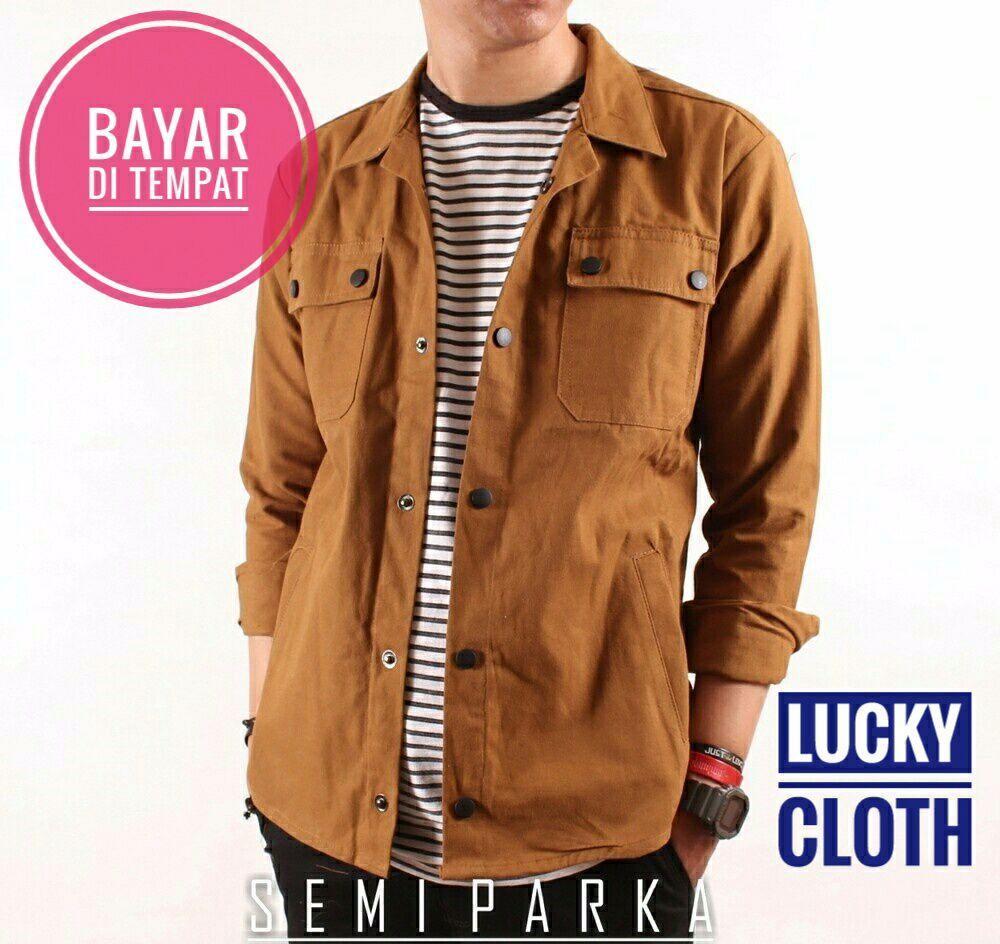 Jaket Mantel Pria Terbaru Baseball Karlit Fleece Button Semi Parka Brown Best Seller Lucky Cloth Casual Jeans