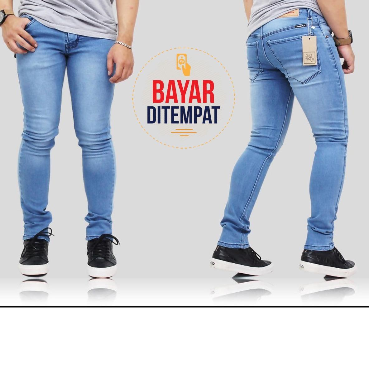 Celana Jeans Denim Pria Skinyfit Terbaru - Birumuda washing