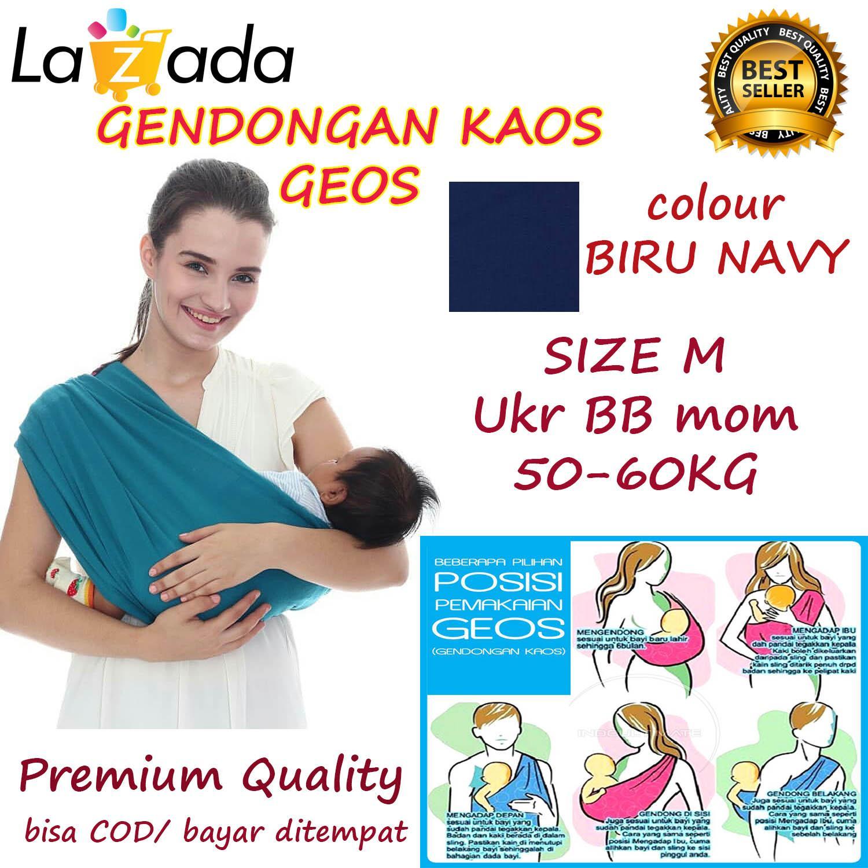 BABY CHERYL PREMIUM GENDONGAN Bayi Kaos/Geos/selendang Bayi Praktis Ukuran M - BIRU