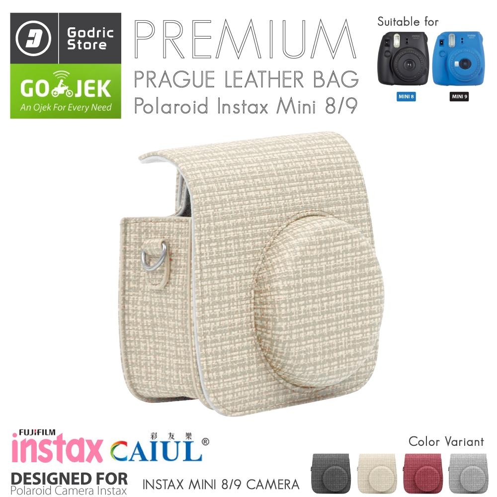Fujifilm Leather Bag Polaroid Instax Mini 8 & 9 Tas Prague Beige Case