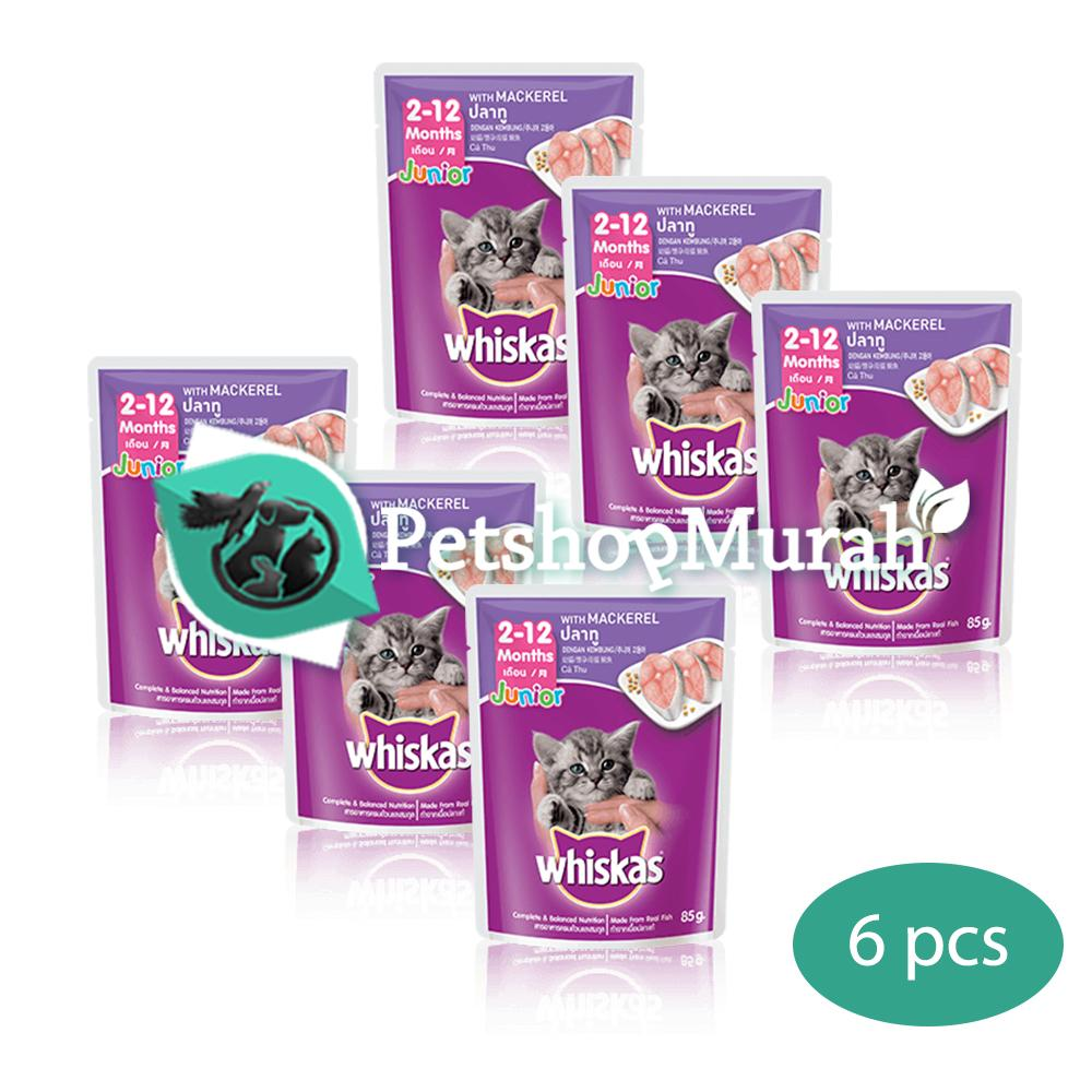 Makanan Kucing Whiskas Junior Mackarel 85 gram / Whiskas Kitten Pouch / Sachet 85gram 6 pcs