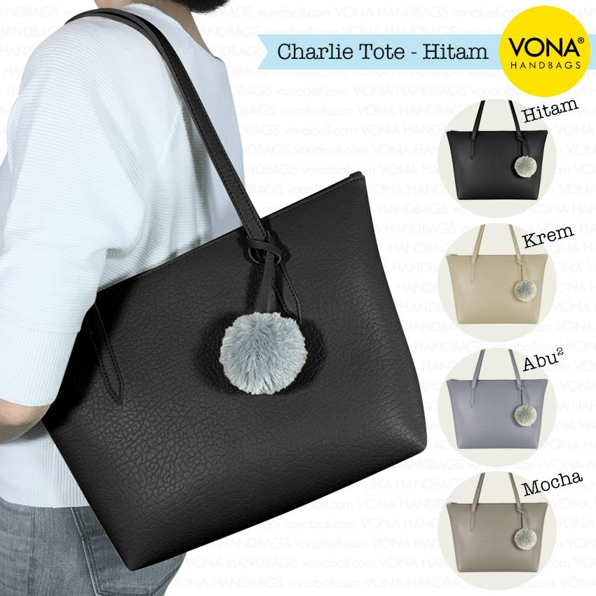 VONA Charlie - Tas Tote Bahu Pompom Bulu Shoulder Bag Wanita Tangan Sekolah Kerja Belanja Ladies Shopping Simple Handbag Gendong Remaja Cewek Tali Zipper Murah Korean Fashion Bali Kulit Sintetis PU Leather Best Seller New Terbaru Branded Original Asli