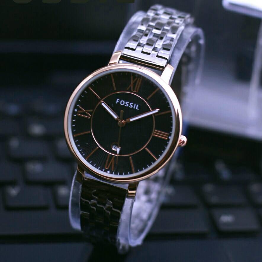 jam tangan fossil jam tangan wanita ELEGAN tanggal aktif lengkap dengan box