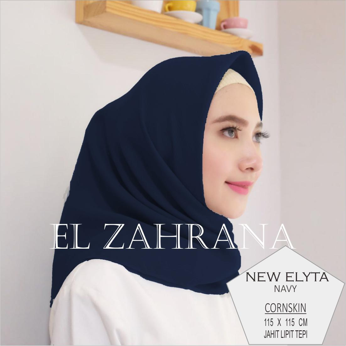 El Zahrana Hijab Square - Kerudung Segi Empat - Jilbab Segi Empat Polos Corn Skin - Marbel