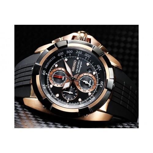 Jam Tangan Seiko Velatura Yachting Timer Chronograph Leather-Black