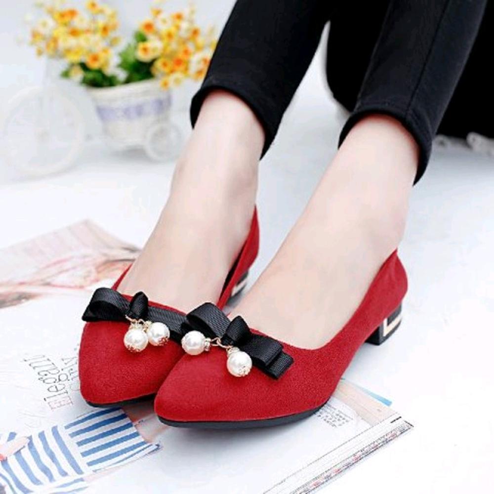 EZELL SHOP Sepatu Wanita Hak Flat Shoes Merah Pita Mutiara Murah
