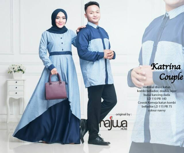 Gamis + Kemeja Katrina Couple Dress Ori Najwa Longdress  Maxi (Navy)