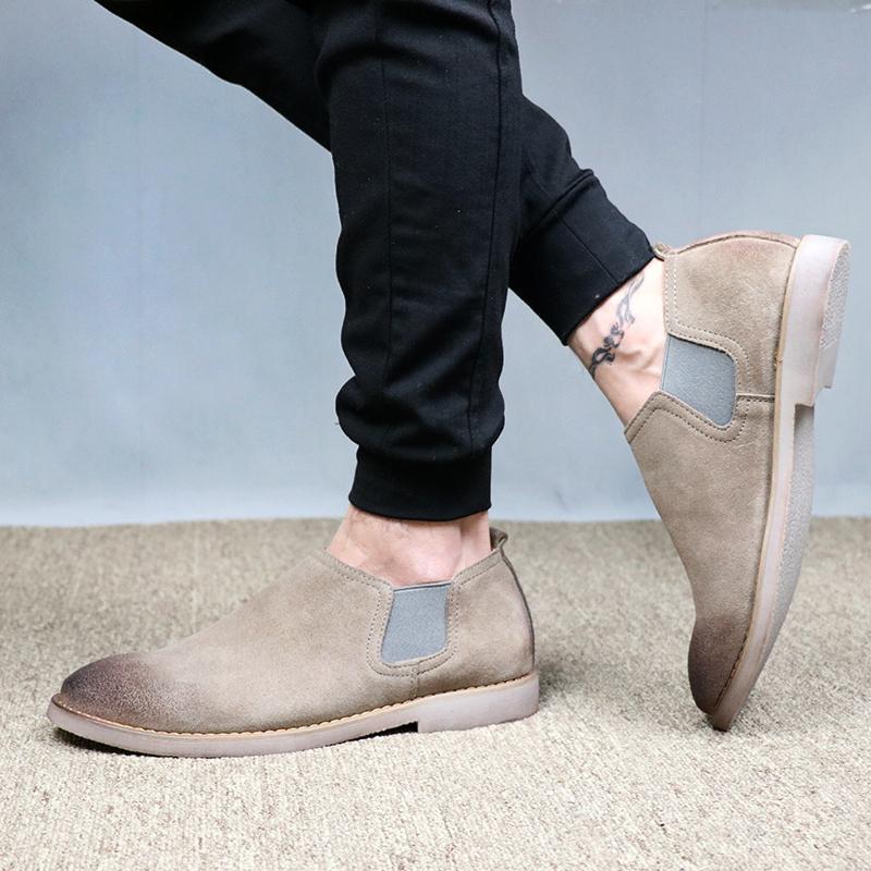 Ala Inggris Kulit Suede Muda Bernapas Sepatu Pria Sepatu Trendi (Gosok Kokas Khaki)