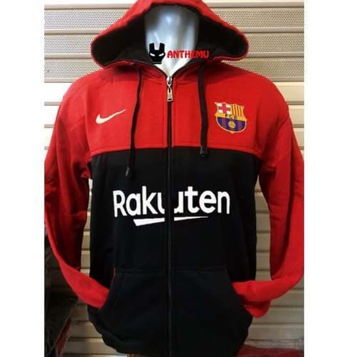 PROMO - Hoodie Kaos Barcelona Red Hitam Jaket Polos - ready stock