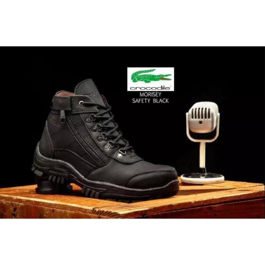sepatu boots safety gunung hikking tracking crocodile morisey black sepatu pria