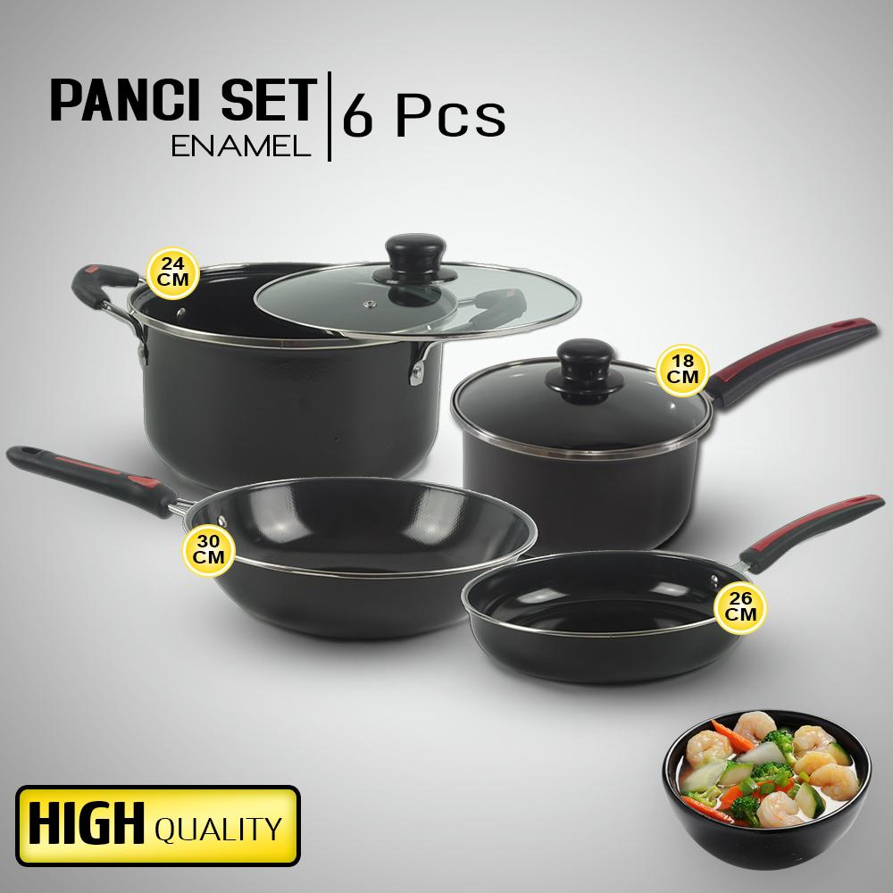 Kokakaa Panci Set Enamel Gsf Cookware Set Lengkap 6 Pcs G1831 High Quality - Hitam By Kokakaa Living.