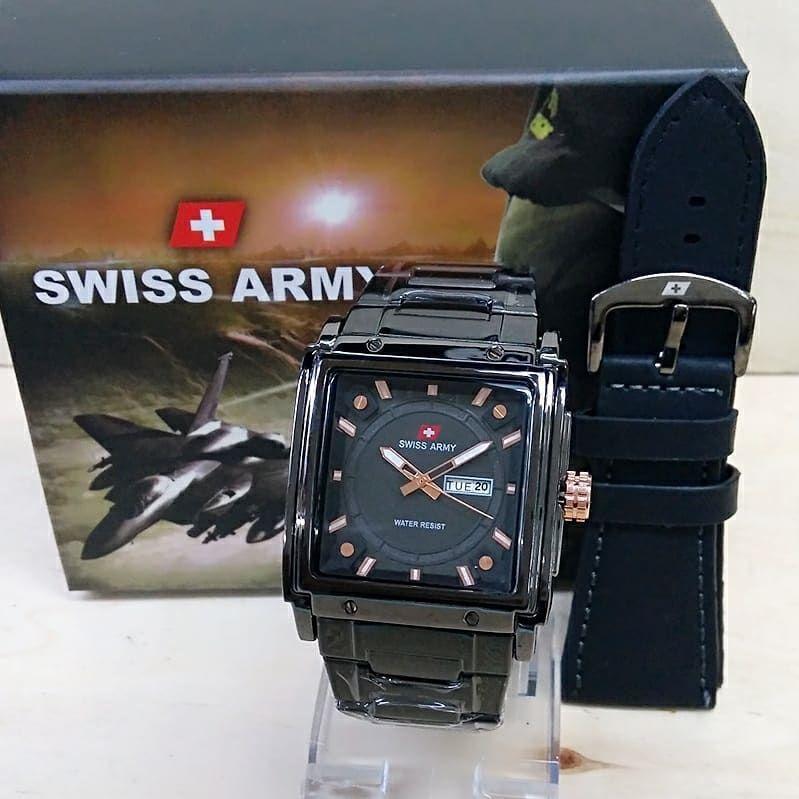 Swiss Army Trendy Sporty Fashion Jam Tangan Pria Crono/Tanggal Aktif Tali Rantai Stainnless Free ( Kotak Swiss Army & Tali KULIT) Model Terbaru