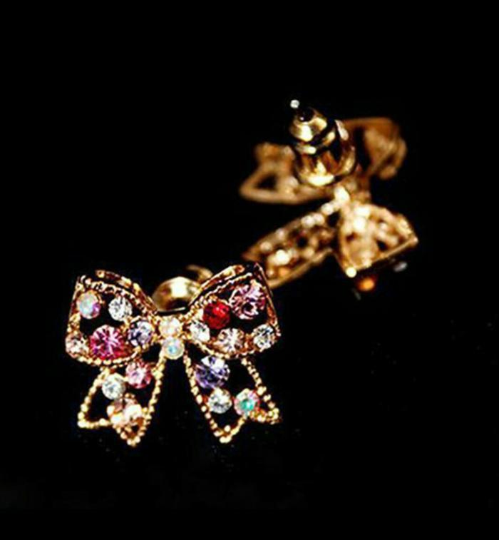PROMO HARI INI Anting fashion wanita emas berlian imitasi/imut warna warni/mengkilap TERLARIS