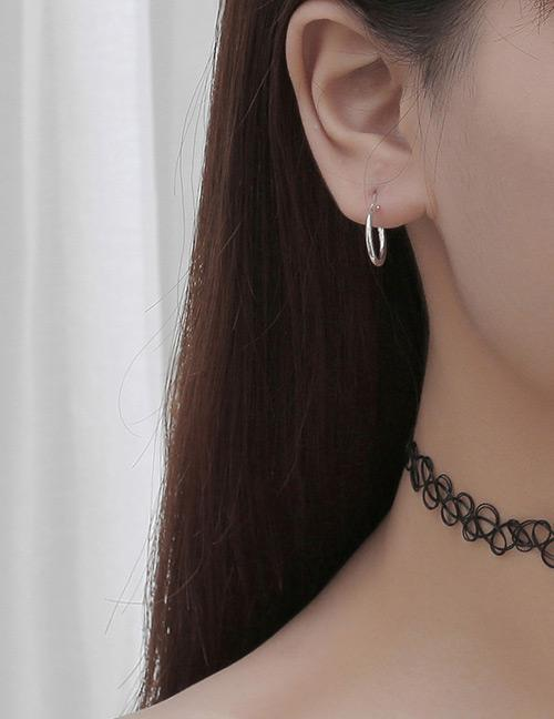 LRC Anting Tusuk Fashion Silver Color Pure Color Decorated Earrings (1Pcs)