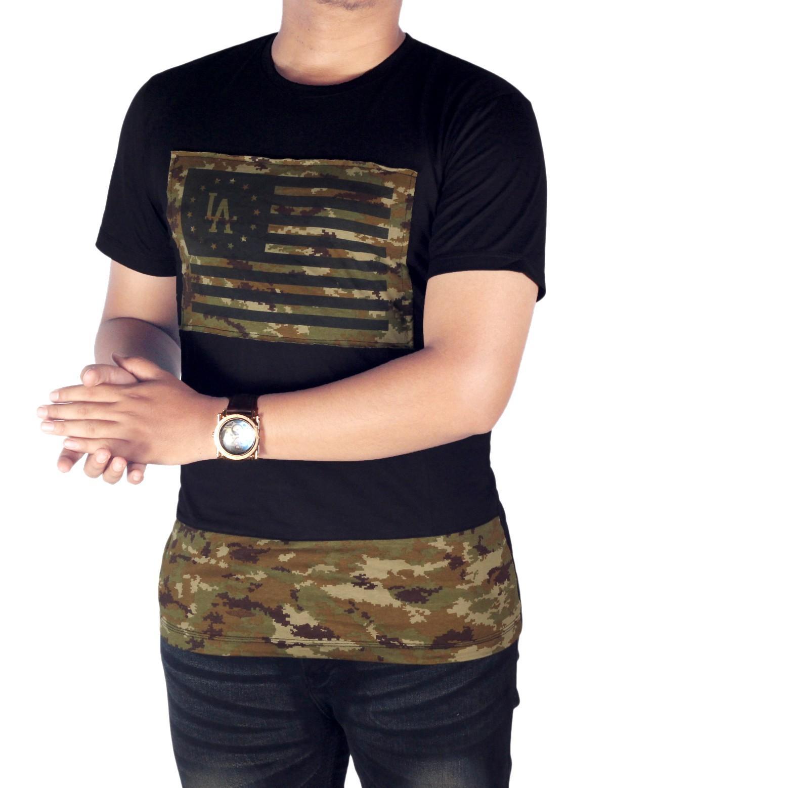 Dgm_Fashion1 Kaos Distro Hitam Army Combinasi/ Baju Kaos Distro Hitam Polos/ Kaos Anak Motor/Kaos Retro/ Kaos Hitam Polos/Baju YOUNG LEX/Kaos Polos/Kaos Oblong/Kaos Distro/Kaos Casual/Kaos Hitam/Kaos Raglan/T-Shirt Man NX 5635