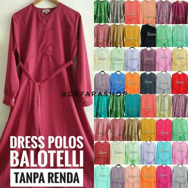 Dress Polos ZAIARA Bahan Balotelli Tanpa Renda Banyak Warna Gamis Syari Menyusui Hamil Umrah (XL)