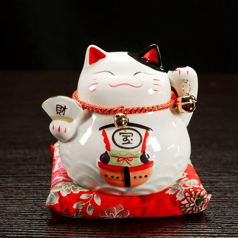 Kucing Lucky Number Celengan Keramik Toko Besar Meja Kasir