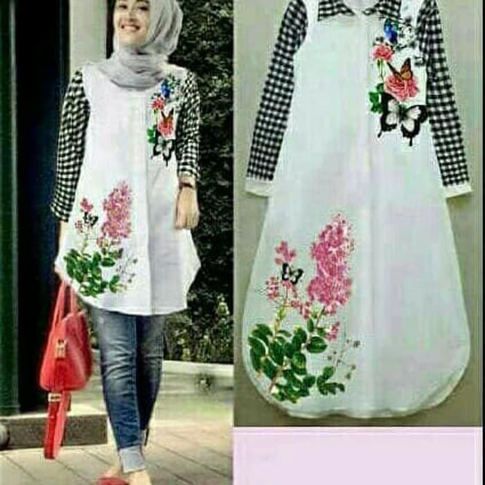 Tunik Cantik Flowen Kotak Hitam / Baju Atasan Remaja / Blouse Muslim / Fashion Wanita / Baju Gamis Murah / Bajua atasan wanita / Baju Muslim Wanita / Dress Wanita  /  Baju Pesta Wanita / Baju Muslim Wanita Terlaris